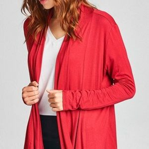 Sweaters - Lightweight Knit Open-jersey Draping, Clay Red